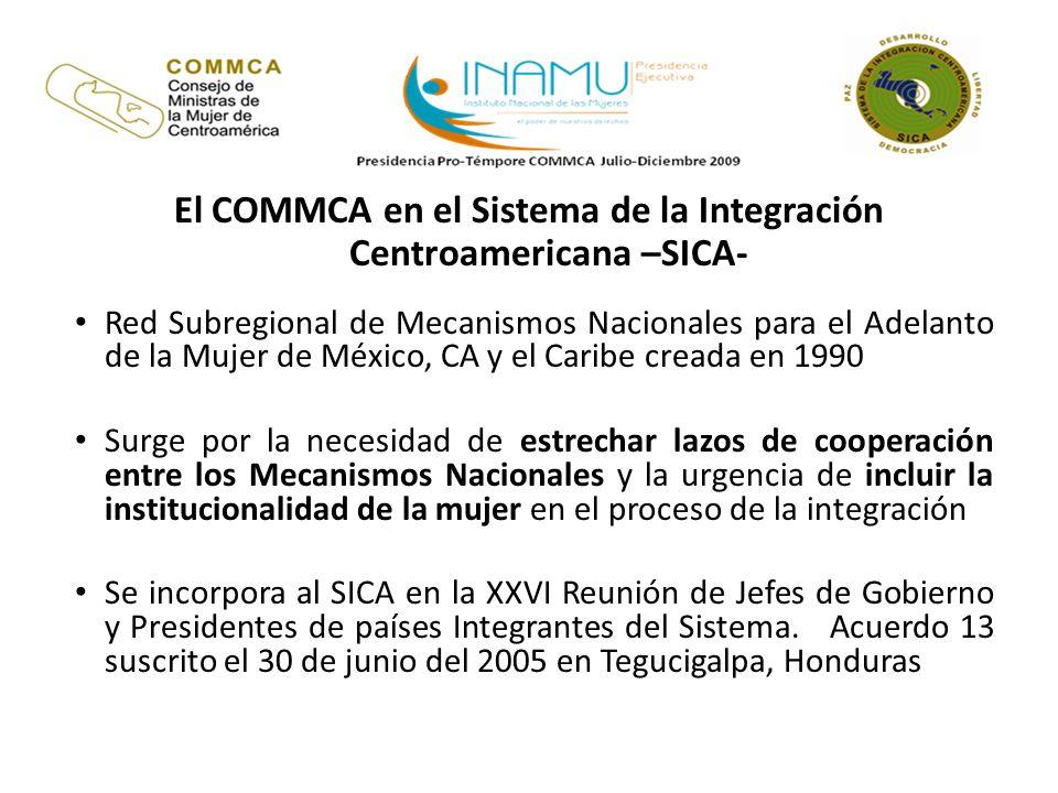 El COMMCA en el Sistema de la Integración Centroamericana –SICA-