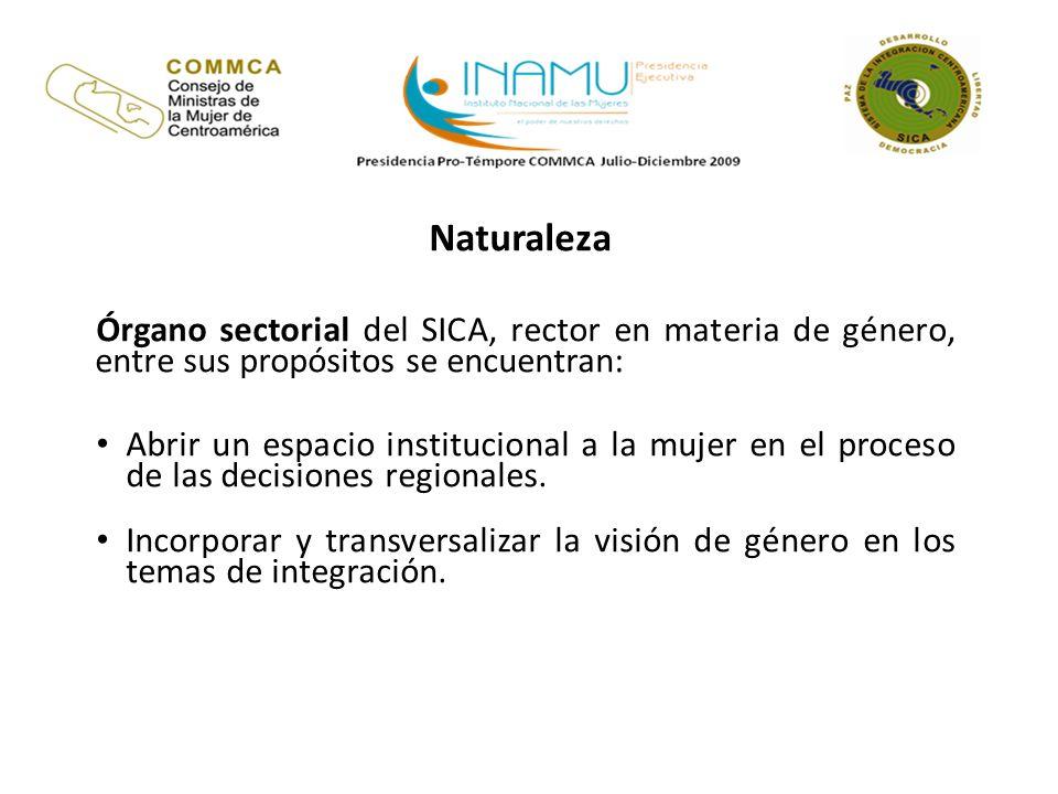 Naturaleza Órgano sectorial del SICA, rector en materia de género, entre sus propósitos se encuentran: