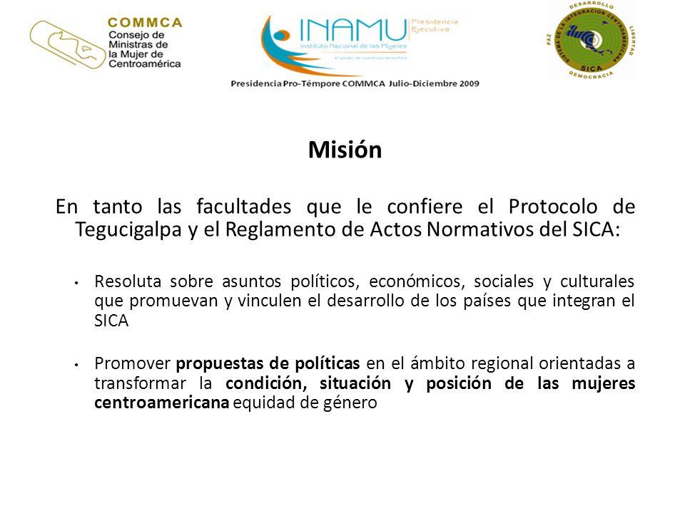 MisiónEn tanto las facultades que le confiere el Protocolo de Tegucigalpa y el Reglamento de Actos Normativos del SICA: