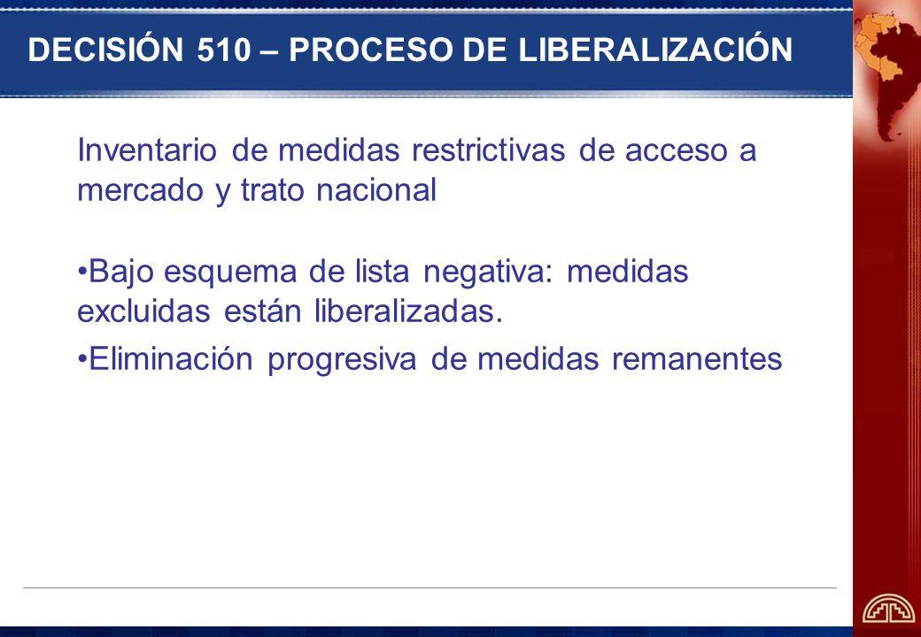 DECISIÓN 510 – PROCESO DE LIBERALIZACIÓN