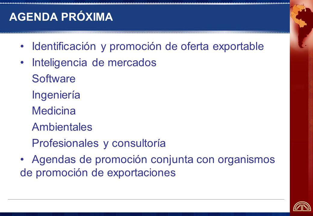 AGENDA PRÓXIMA Identificación y promoción de oferta exportable. Inteligencia de mercados. Software.