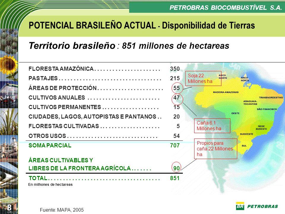 POTENCIAL BRASILEÑO ACTUAL - Disponibilidad de Tierras