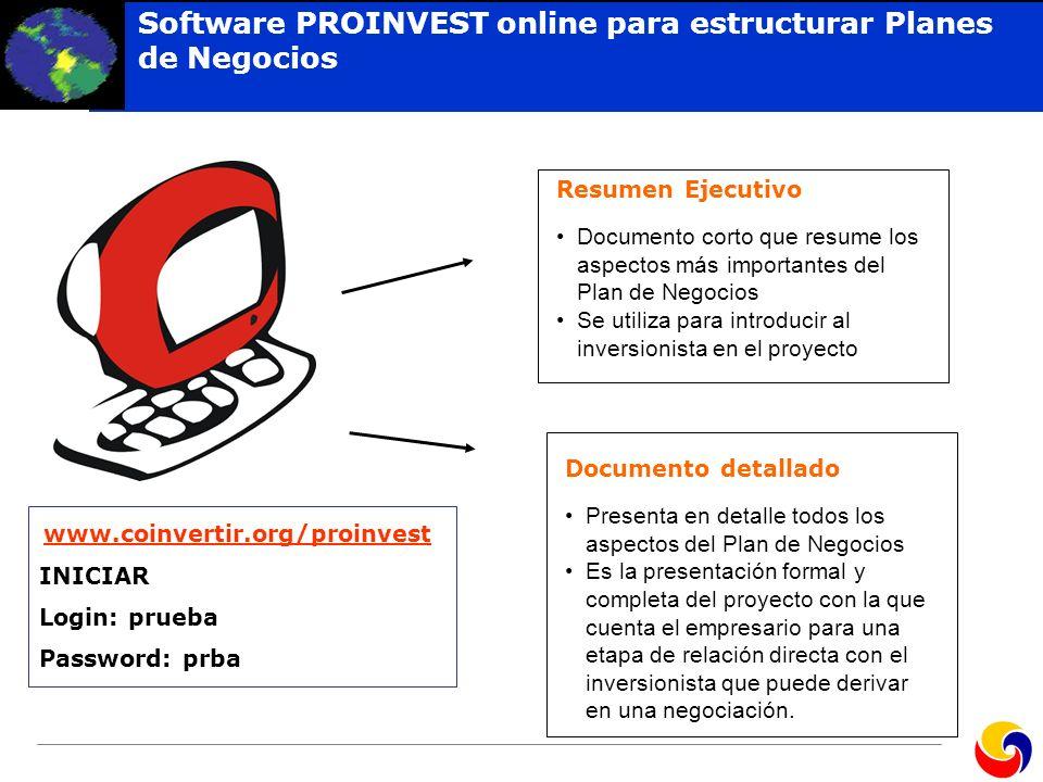 Software PROINVEST online para estructurar Planes de Negocios