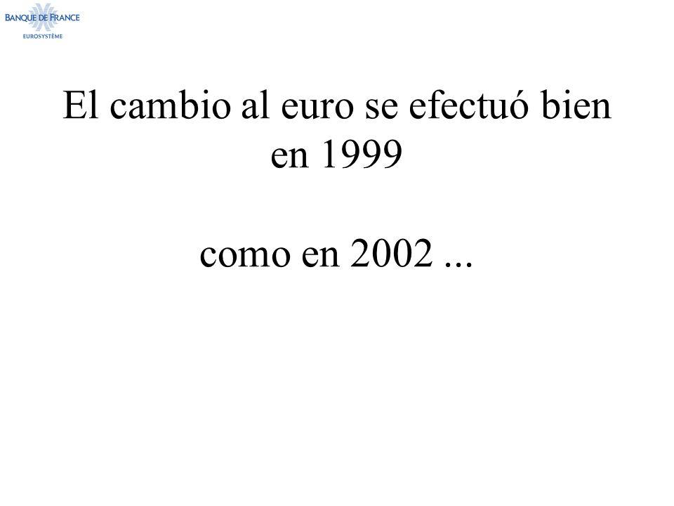 El cambio al euro se efectuó bien en 1999 como en 2002 ...