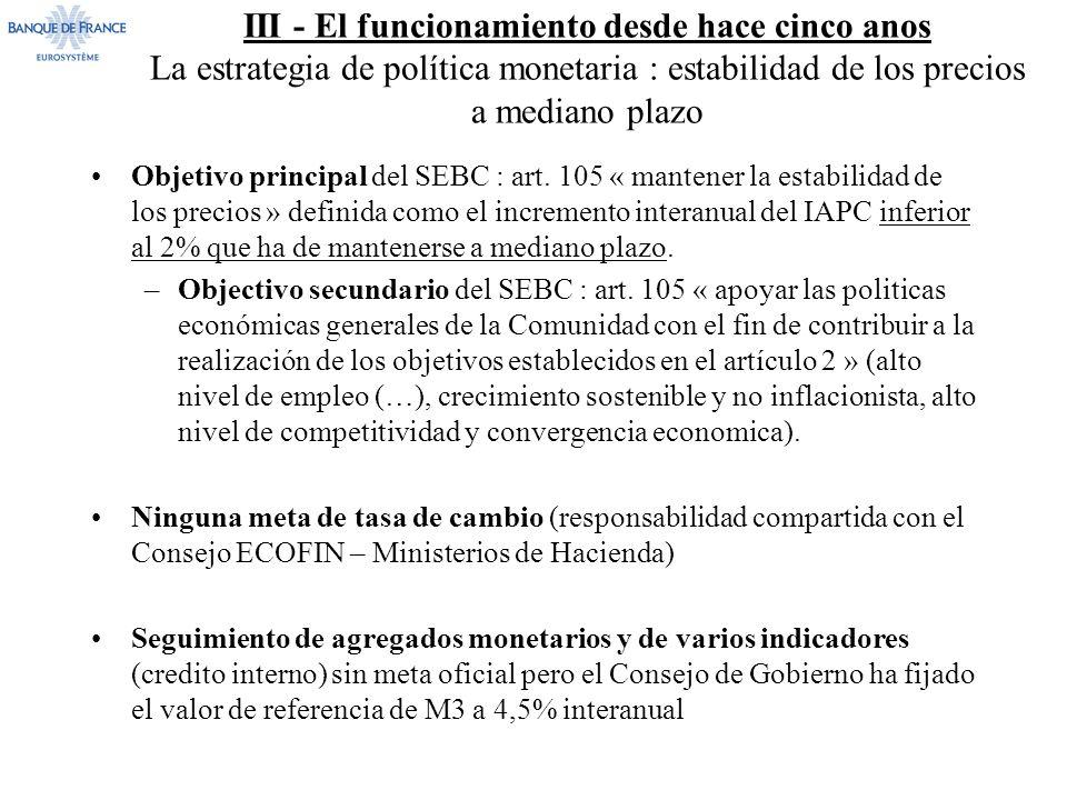 III - El funcionamiento desde hace cinco anos La estrategia de política monetaria : estabilidad de los precios a mediano plazo