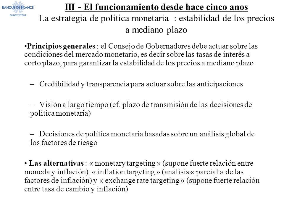 III - El funcionamiento desde hace cinco anos La estrategia de politica monetaria : estabilidad de los precios a mediano plazo