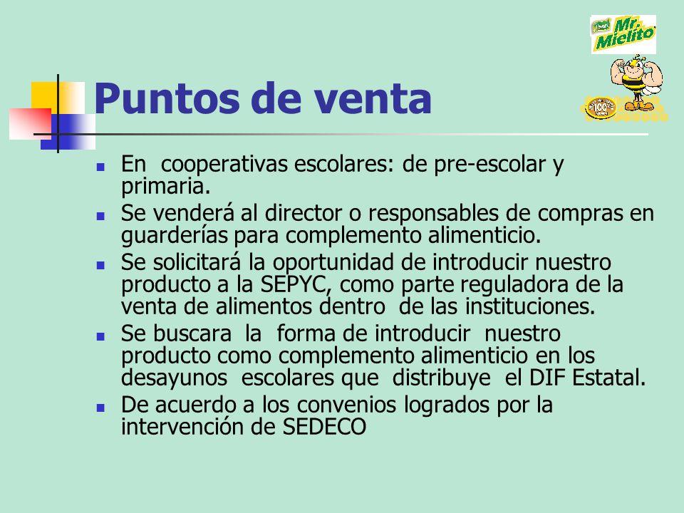 Puntos de venta En cooperativas escolares: de pre-escolar y primaria.