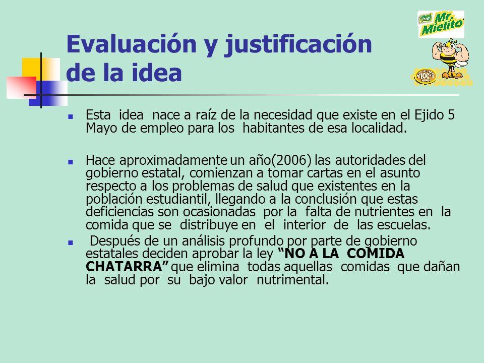 Evaluación y justificación de la idea