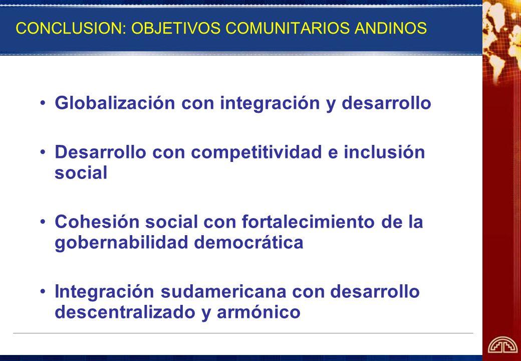 CONCLUSION: OBJETIVOS COMUNITARIOS ANDINOS