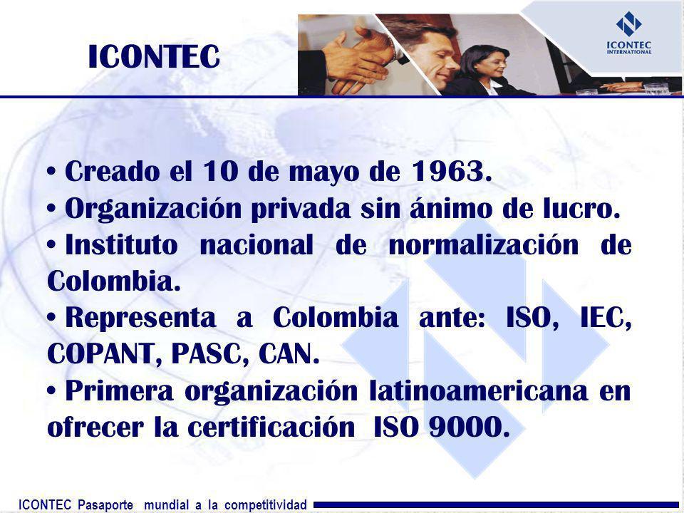 ICONTEC Creado el 10 de mayo de 1963.
