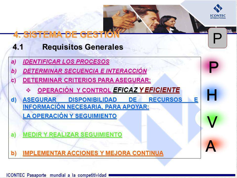 P H V A P 4. SISTEMA DE GESTIÓN 4.1 Requisitos Generales