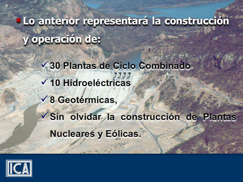 Lo anterior representará la construcción y operación de: