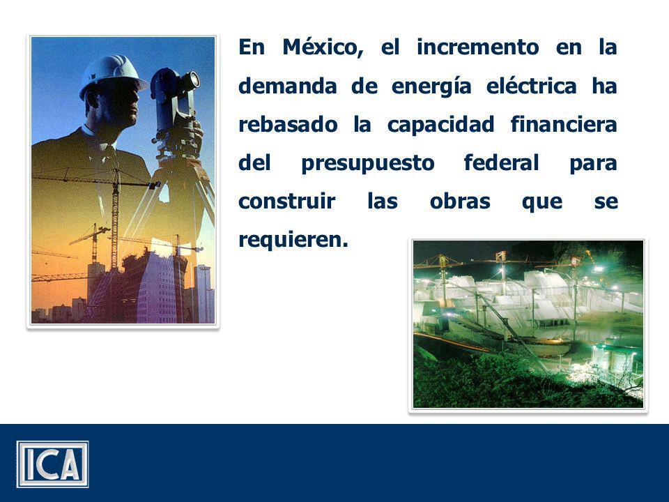 En México, el incremento en la demanda de energía eléctrica ha rebasado la capacidad financiera del presupuesto federal para construir las obras que se requieren.
