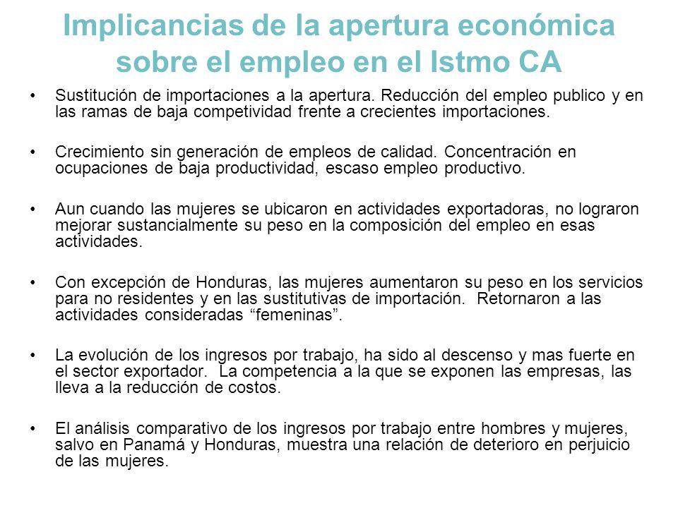Implicancias de la apertura económica sobre el empleo en el Istmo CA