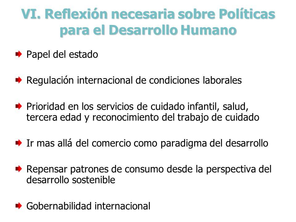 VI. Reflexión necesaria sobre Políticas para el Desarrollo Humano