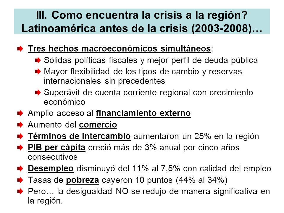 III. Como encuentra la crisis a la región