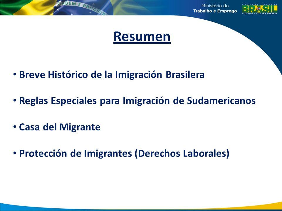 Resumen Breve Histórico de la Imigración Brasilera