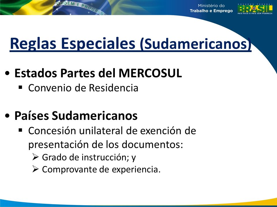 Reglas Especiales (Sudamericanos)