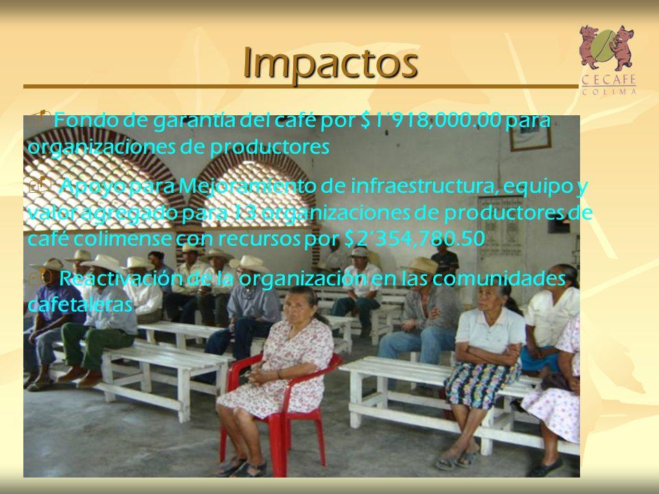 Impactos Fondo de garantía del café por $1'918,000.00 para organizaciones de productores.