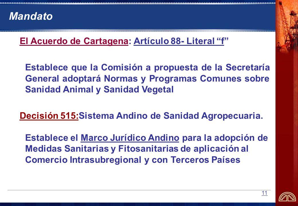 Mandato El Acuerdo de Cartagena: Artículo 88- Literal f
