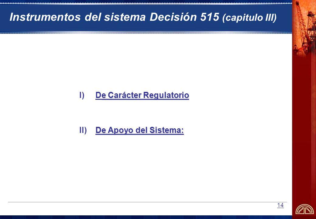Instrumentos del sistema Decisión 515 (capitulo III)