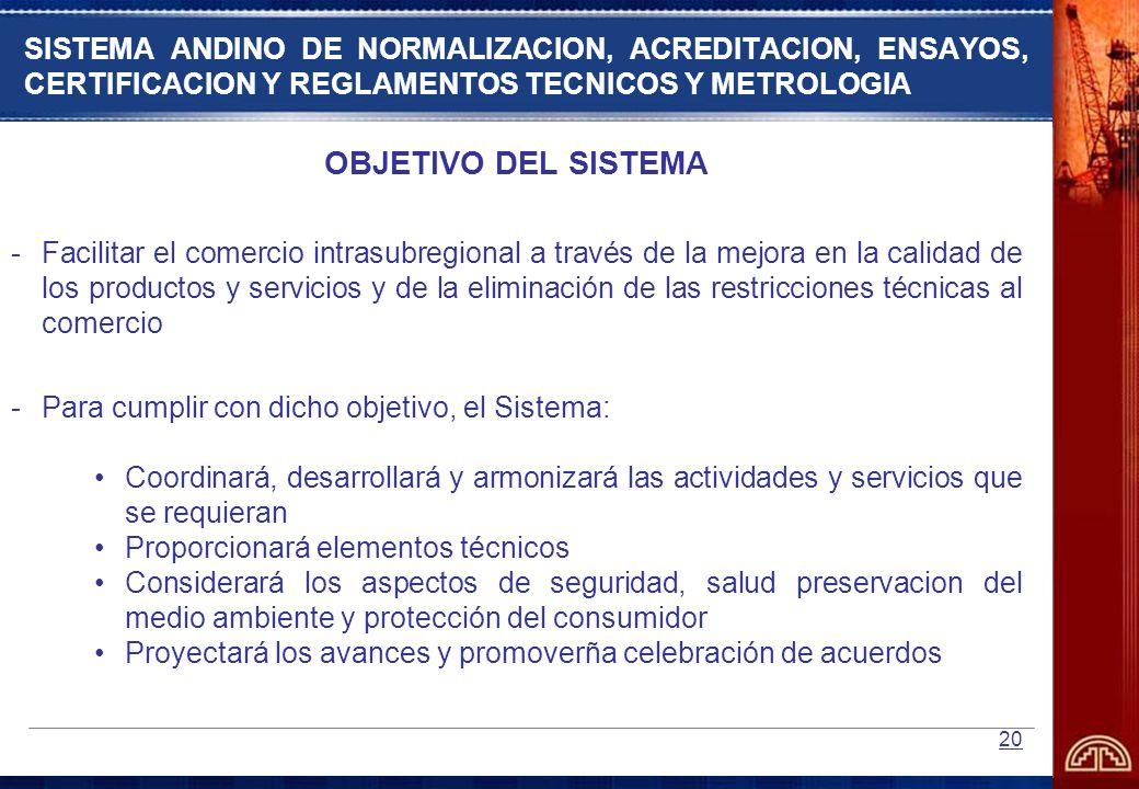 SISTEMA ANDINO DE NORMALIZACION, ACREDITACION, ENSAYOS, CERTIFICACION Y REGLAMENTOS TECNICOS Y METROLOGIA