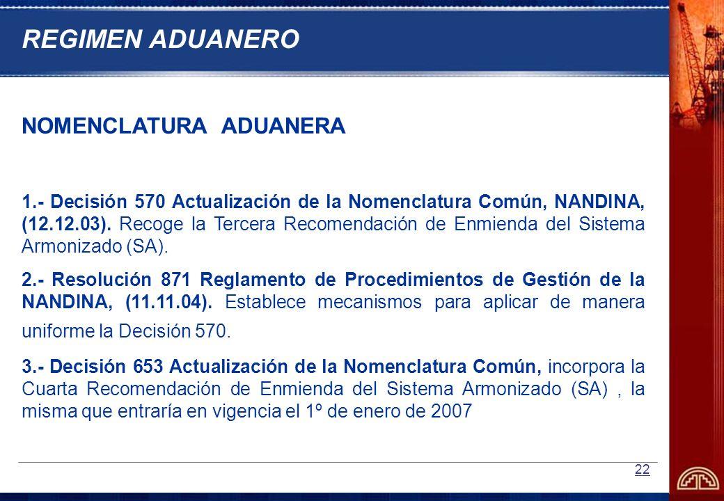 REGIMEN ADUANERO NOMENCLATURA ADUANERA