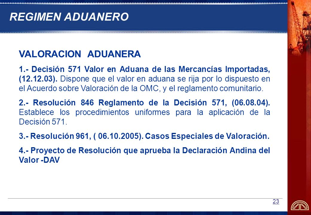 REGIMEN ADUANERO VALORACION ADUANERA