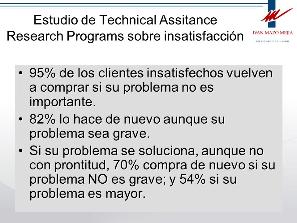 Estudio de Technical Assitance Research Programs sobre insatisfacción