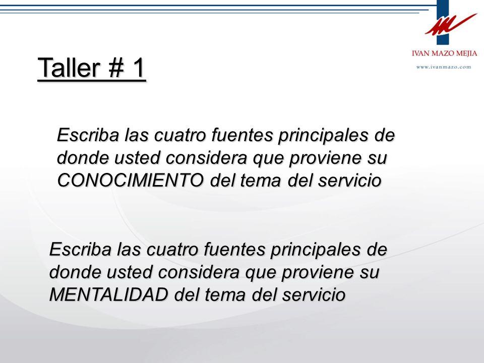 Taller # 1 Escriba las cuatro fuentes principales de donde usted considera que proviene su CONOCIMIENTO del tema del servicio.