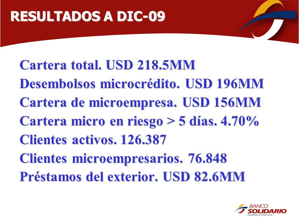 Desembolsos microcrédito. USD 196MM Cartera de microempresa. USD 156MM