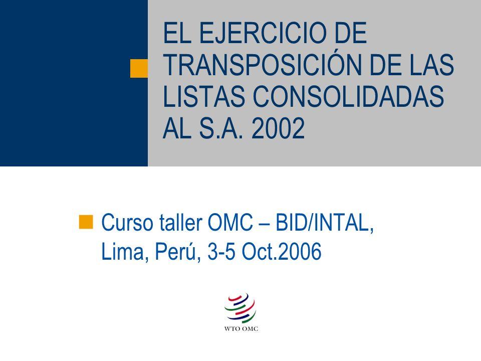 EL EJERCICIO DE TRANSPOSICIÓN DE LAS LISTAS CONSOLIDADAS AL S.A. 2002