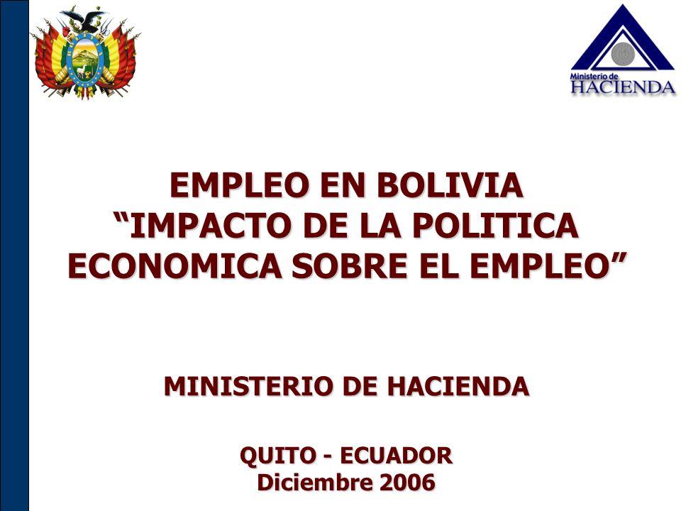EMPLEO EN BOLIVIA IMPACTO DE LA POLITICA ECONOMICA SOBRE EL EMPLEO