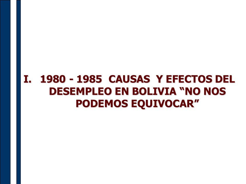 1980 - 1985 CAUSAS Y EFECTOS DEL DESEMPLEO EN BOLIVIA NO NOS PODEMOS EQUIVOCAR