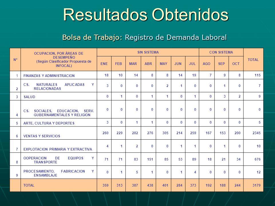 Resultados Obtenidos Bolsa de Trabajo: Registro de Demanda Laboral Nº