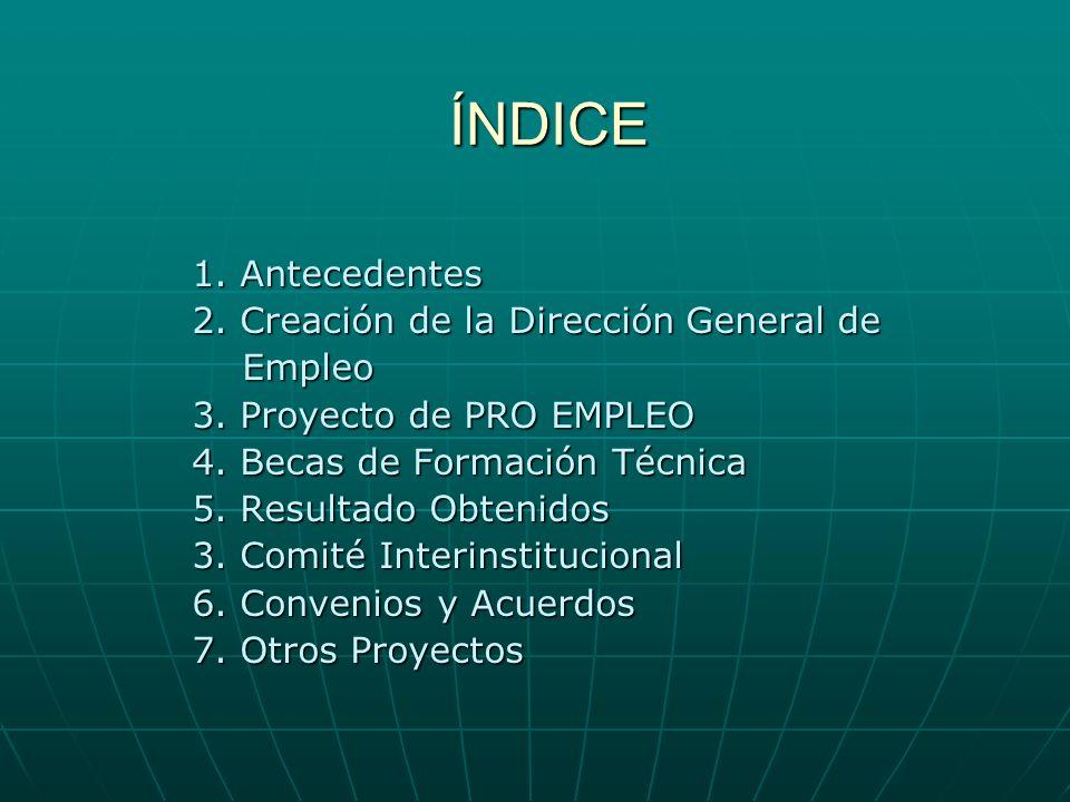 ÍNDICE 1. Antecedentes 2. Creación de la Dirección General de Empleo
