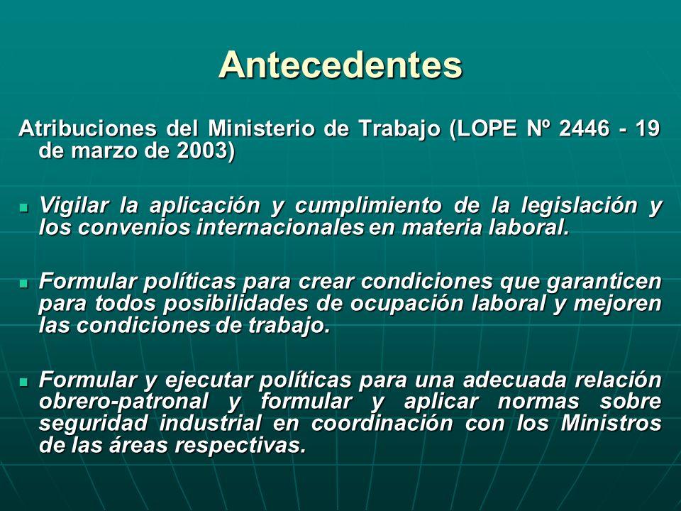 Antecedentes Atribuciones del Ministerio de Trabajo (LOPE Nº 2446 - 19 de marzo de 2003)