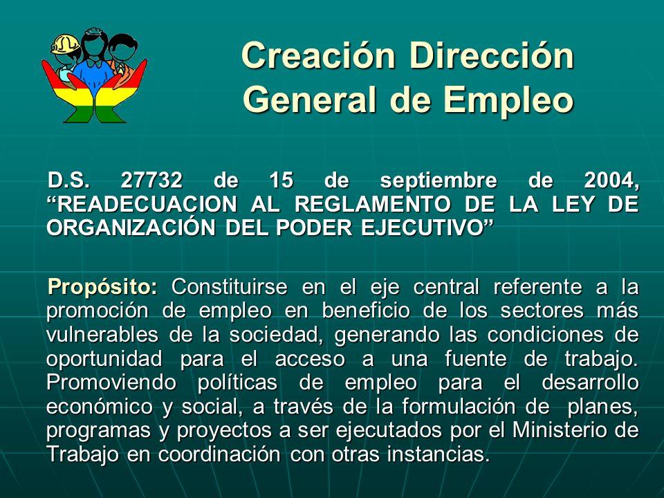 Creación Dirección General de Empleo