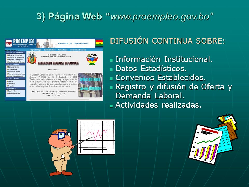 3) Página Web www.proempleo.gov.bo