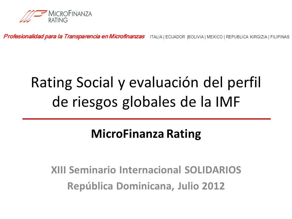 Rating Social y evaluación del perfil de riesgos globales de la IMF