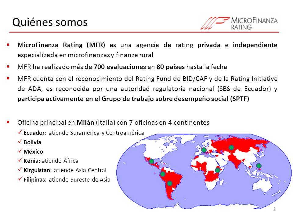 Quiénes somos MicroFinanza Rating (MFR) es una agencia de rating privada e independiente especializada en microfinanzas y finanza rural.