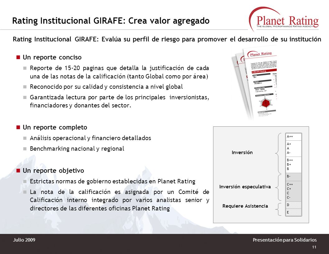 Rating Institucional GIRAFE: Crea valor agregado