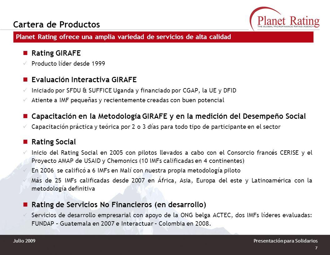 Cartera de Productos Rating GIRAFE Evaluación Interactiva GIRAFE