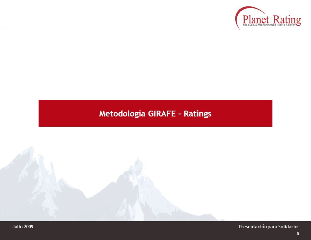 Metodologia GIRAFE - Ratings