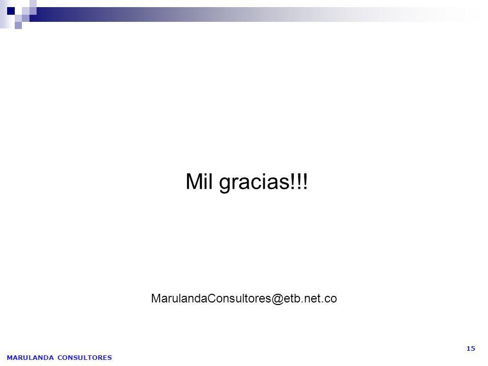 Mil gracias!!! MarulandaConsultores@etb.net.co
