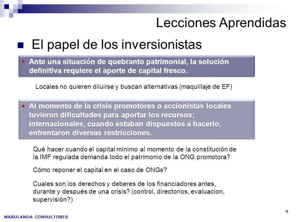 El papel de los inversionistas