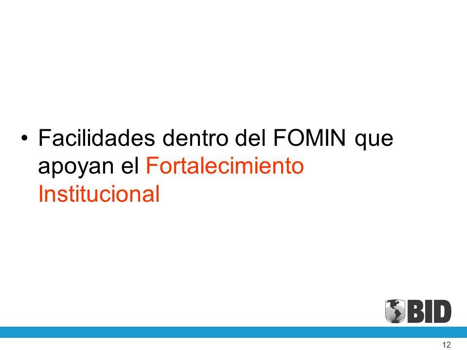 Facilidades dentro del FOMIN que apoyan el Fortalecimiento Institucional