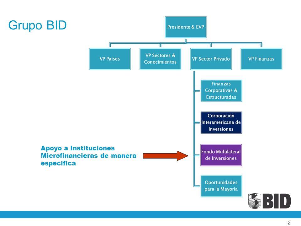 Grupo BID Apoyo a Instituciones Microfinancieras de manera especifica