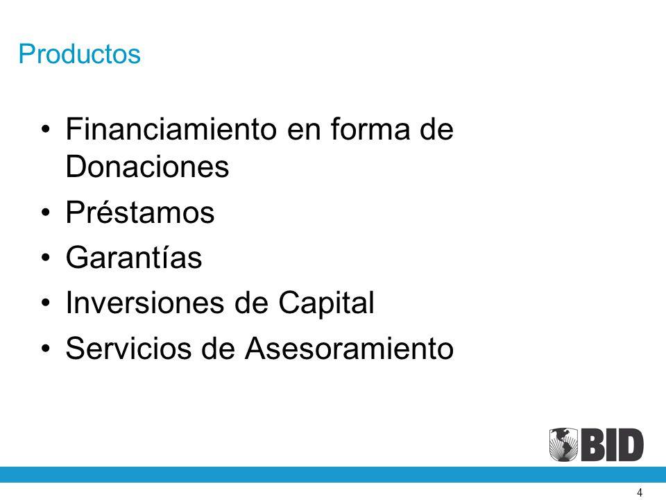 Financiamiento en forma de Donaciones Préstamos Garantías