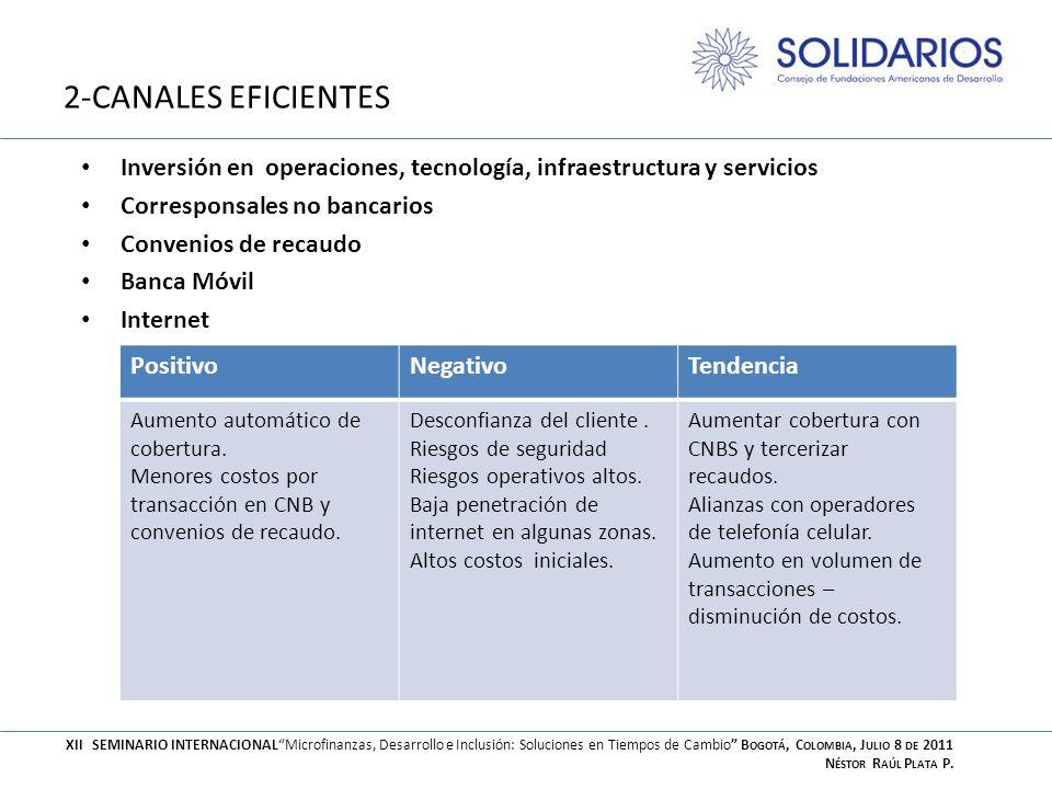 2-CANALES EFICIENTES Inversión en operaciones, tecnología, infraestructura y servicios. Corresponsales no bancarios.